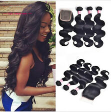 3 Bundles Body Wave Hair Weft with Lace Closure Virgin Peruvian Human Hair Weave