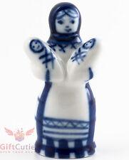 Gzhel Russian Handpainted Porcelain Folk Figurine peasant woman holding 2 babies