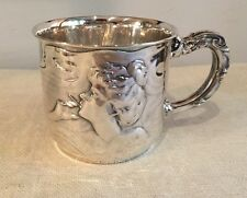 Unger Brothers Antique Art Nouveau Sterling Silver Smoking Lady Mug Cup