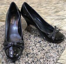 Ditto by Van Eli Women's Sz 6.5 M Black Wedge Heels Pumps Bow at Toe