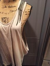 213 Michelle Kim Tan Beige Chain Detail Tank Top Sleeveless Shirt Women