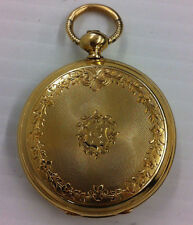 Henry Hoffmann Locle Key Wind Hunter Case Pocket Watch 18K GOLD