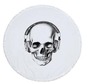 3D Headset Skull ZHU603 Summer Plush Fleece Blanket Picnic Beach Towel Dry Zoe