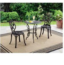 3-Piece Bistro Set Rose Patio Backyard Outdoor Dining Aluminum w/ Cast-iron Leg