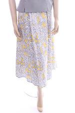 New VIZ-A-VIZ Cotton Skirt Size 12 Ladies Yellow, Grey and White Print