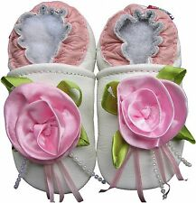 carozoo party white 2-3y soft sole leather baby girl shoes