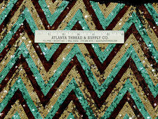 SEQUIN STRETCH SEWN ON FABRIC  GOLD/TURQUOISE/ BRONZE BTY FORMAL PROM  COSTUME