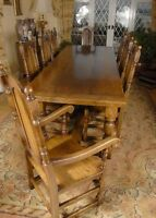 Oak Refectory Table Dining Set - William and Mary Chairs Kitchen