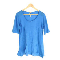 Comfy USA Top T-shirt Blue Women's Small Short Sleeve Flare-Hem Cotton Striped