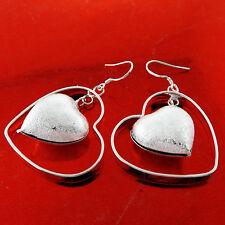 EARRINGS GENUINE REAL 925 STERLING SILVER S/F LADIES HOOK DROP HEART DESIGN