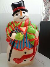 "Vtg Blow Mold SANTAS BEST Big 44"" Tall Snowman With Scarf"
