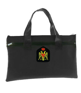 Scottish Rite Wings Down 33rd Degree Black Masonic Tote Bag Crowned Double Eagle