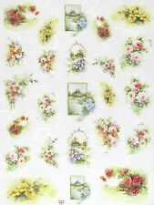 Rice Paper -Flower Bouquets- for Decoupage Scrapbooking Sheet Craft