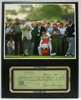 Gene Sarazen Reproduction Signed Check Display