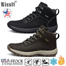 New listing Mens Leather Workout Combat Warm Boots Biker Fur Lined Hiking Waterproof Shoes