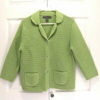Josephine Chaus Green Button Front Sweater Jacket Size PL Petite Large Cardigan