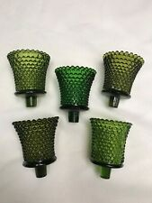 5 Assorted Green Hobnail Peg Votive Cup Candle Holders Homco Home Interior