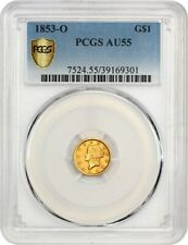 1853-O G$1 PCGS AU55 - Popular New Orleans Gold Dollar - 1 Gold Coin