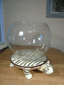 Plant Terrarium ~ Large 3 Gal. Fish Bowl with Striped Cat Stand
