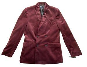 INC Men Size S Double Breasted Slim Fit Peak Lapel Velour Blazer Color Burgundy
