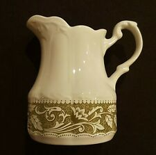 J&G MEAKIN VINTAGE STERLING COLONIAL ENGLISH Ironstone Green White Cream pitcher