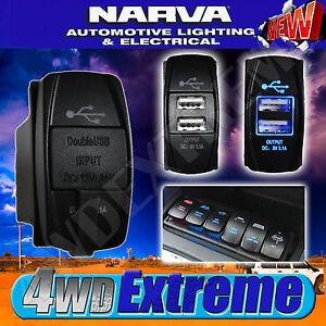QUALITY NARVA DUAL USB SOCKET TWIN LED ARB STYLE ROCKER SWITCH BLUE 63218BL
