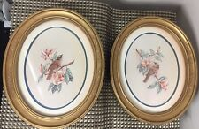 Homco Pair of Kay Lamb Shannon Oval Blue Bird Prints Oval Framed & Matted