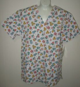 ADAR UNIFORMS~X-SMALL~Women's White Floral V-Neck Short Sleeve Scrub Top 1601