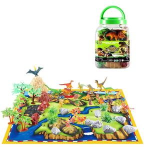 Educational Toys Realistic Dinosaur Figures Kids Playset with Mat Trees Rocks