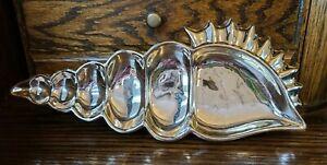 "Silver Plated Ceramic Seashell Dish Tray 13"" Long"