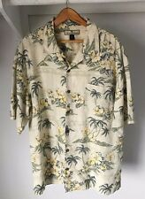 Tommy Bahama Camp Shirt Large White/Green Floral Print 100% Silk