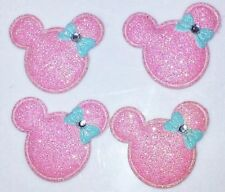 4PC Minnie Mouse Patches Pink Glitter Embellishment Scrapbooks Padded Appliques