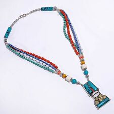 Silver Women Jewelry Gift Tn720 Turquoise Lapis Coral Gemstone Necklace, Tibetan