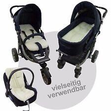 LAMMWOLLE EINLAGE / SITZUNTERLAGE / AUFLAGE für Kinderwagen Babyschale WENDBAR