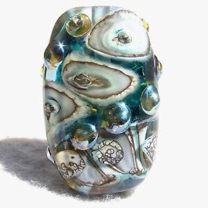 REYKJAVIK Handmade Lampwork Art Glass Focal Bead Flaming Fools Lampwork Art Glass  sra