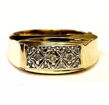 10k yellow gold .17ct I2 K mens diamond cluster gents ring band 4.5g vintage