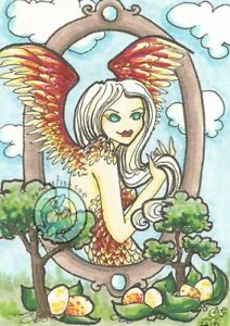 Harpy Eggs Cartoon fairy nymph L/E Hand Embellished Fantasy ACEO art PRINT ejw