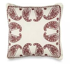 American Classics Landau Paisley Embroidered Decorative Toss Pillow Ivory Red