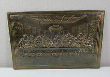 "Vintage Metal Litho ""THE LAST SUPPER"" Wall Hanging Art Decor 14.5"" x 9.5"""