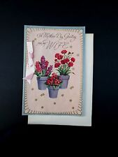 # J354- Vintage Unused Mother's Day Greeting Card Potted Spring Flowers for Mom