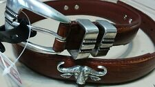 Brown Genuine Leather Lizard Belt with Bull Conchos Size 28 Hunting