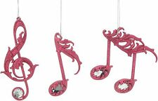 Set of 3 Pink Music Notes Christmas Tree Decorations  NEW  22504