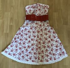 Pretty White & Red Floral Strapless Cotton Summer Dress Vintage 12 Jane Norman