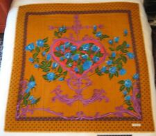 """Christian Lacroix Scarf Couture Heart Anchor Blue Roses 53"""" X 53"""" Wool, France"""