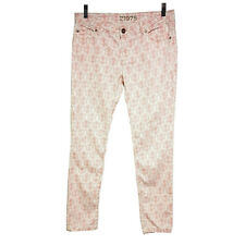 Zara Basic Dept Womens Jeans Size 38 Pink White Floral Mid Rise Skinny