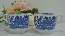 """Vintage set of 2 Blue Willow Mugs Unmarked """"A"""""""