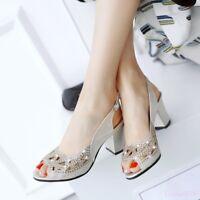 Mary Jane Women's Sandals Shoes Mid Block Heel Open Toe Slingbacks Rhinestone