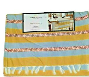 """Table Runners Yellow Blue Dinning Room Cotton Threshold 14"""" x 72"""""""