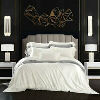 Luxury 100% Real Silk Solid Color Bedding Set Smooth Duvet Cover Sets Bed Sheet