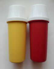 Vintage Tupperware Ketchup & Mustard Condiment Pump Dispensers with Lids